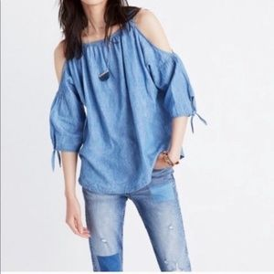 Madewell Blue Indigo Chambray Cold Shoulder Top